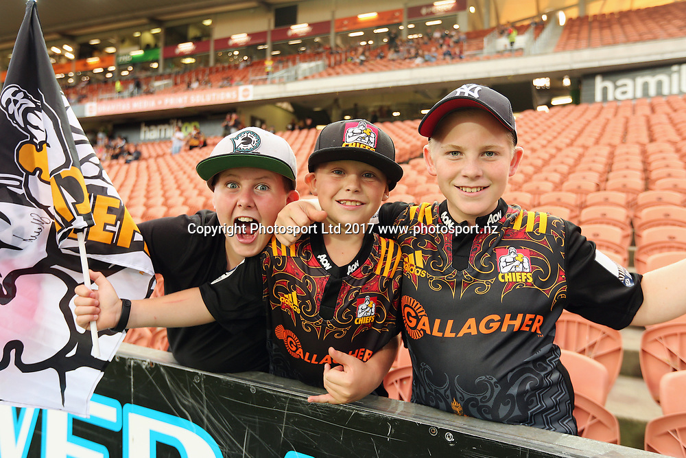 Rugby fans ahead of the Super Rugby rugby match - Chiefs v Bulls played at FMG Stadium Waikato, Hamilton, New Zealand on Saturday 1 April 2017.  Copyright photo: Bruce Lim / www.photosport.nz
