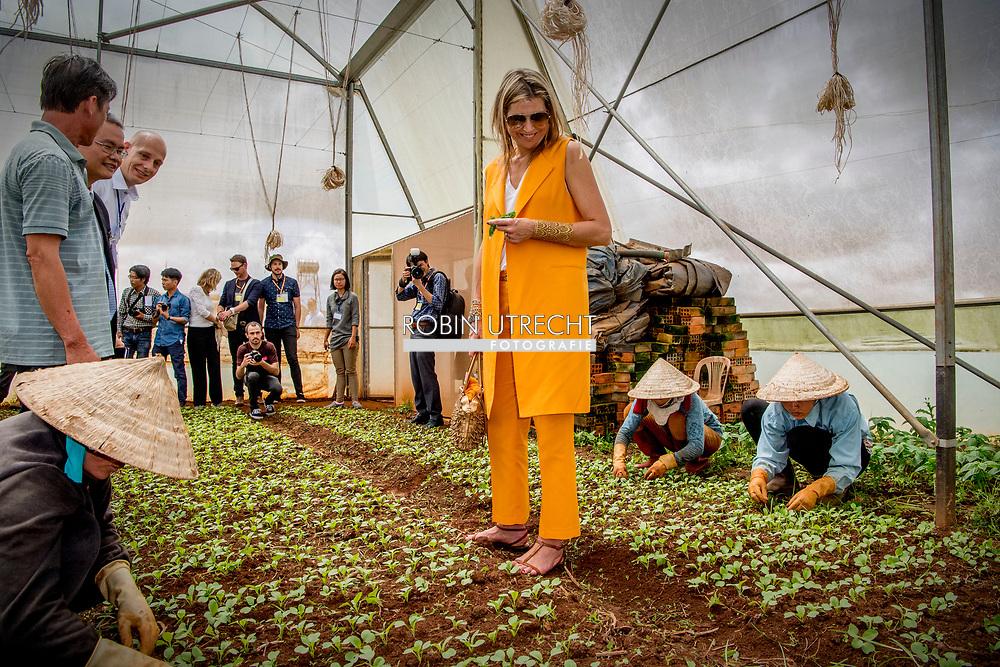 30-5-2017 - VIETNAM  DA LAT -Arrival at Horti Da Lat's GreenHouse Farm Queen Maxima visits farmers in Dalat . Queen Maxima, in her capacity as Special Prosecutor of the Secretary-General of the United Nations, for Inclusive Finance for Development, visits the Socialist People's Republic of Vietnam on Tuesday, May 30, and Thursday, June 1, 2017. COPYRIGHT ROBIN UTRECHT<br /> <br /> <br /> 30-5-2017 - VIETNAM  DA LAT -Aankomst bij &lsquo;GreenHouse Farm&rsquo; van Horti Da Lat.  Koningin Maxima bezoekt boeren in Da Lat . Koningin Maxima bezoekt in haar hoedanigheid van speciale pleitbezorger van de secretaris-generaal van de Verenigde Naties voor inclusieve financiering voor ontwikkeling (inclusive finance for development) de Socialistische Volksrepubliek Vietnam van dinsdag 30 mei en met donderdag 1 juni 2017.  COPYRIGHT ROBIN UTRECHT NETHERLANDS ONLY !!