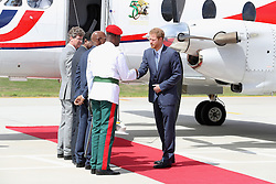 Prince Harry (right) leaves Eugene F. Correia International Airport in Georgetown, Guyana, during an official visit to the Caribbean.