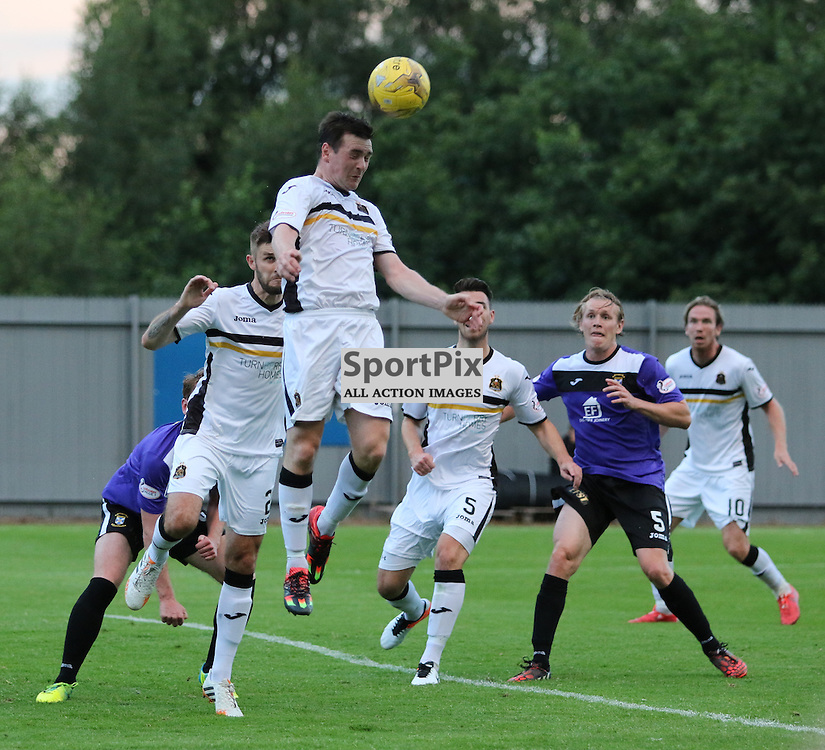 Mark Docherty Heads away the danger  during the Dumbarton v East Fife Scottish League Cup group stage 19 July 2016<br /> <br /> (c) Andy Scott | SportPix.org.uk