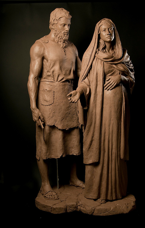 """Mary & Joseph""  by sculptor Rip Caswell.  Mount Angel Abby, Benedict, Oregon."