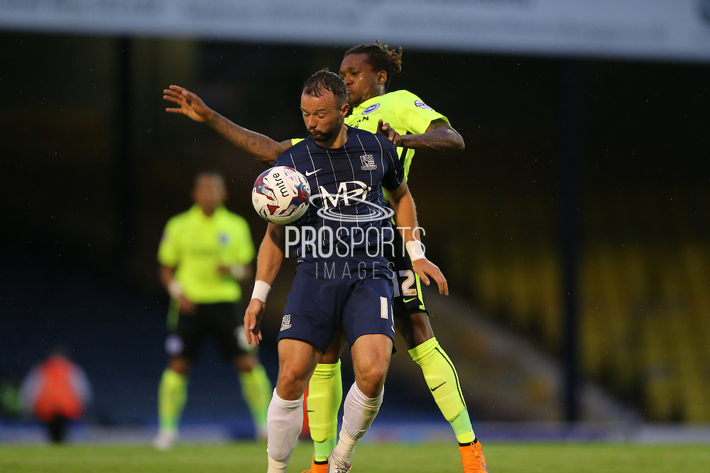 Southend United striker Noel Hunt during the Capital One Cup match between Southend United and Brighton and Hove Albion at Roots Hall, Southend, England on 11 August 2015.