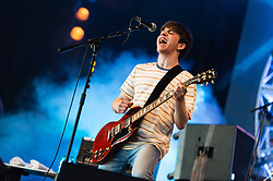 © Licensed to London News Pictures. 14/06/2015. Newport, UK.   Pretty Vicious performing live at Isle of Wight Festival 2015, Day 4 Sunday.   Headline acts include The Prodigy, Blur and Fleetwood Mac.   Photo credit : Richard Isaac/LNP
