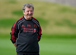 LIVERPOOL, ENGLAND - Wednesday, August 18, 2010: Liverpool's manager Roy Hodgson during a training session at Melwood ahead of the UEFA Europa League Play-Off 1st Leg match against Trabzonspor A.S. (Pic by: David Rawcliffe/Propaganda)