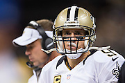 NEW ORLEANS, LA - SEPTEMBER 20:  Drew Brees #9 of the New Orleans Saints on the sidelines during a game against the Tampa Bay Buccaneers at Mercedes-Benz Superdome on September 20, 2015 in New Orleans Louisiana. The Buccaneers defeated the Saints 26-19.   (Photo by Wesley Hitt/Getty Images) *** Local Caption *** Drew Brees