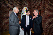 MARK SHAND; SIR EVELYN DE ROTHSCHILD;  CYRUS VANDREVALA;The launch party for Elephant Parade hosted at the house of  Jan Mol. Covent Garden. London. 23 June 2009.