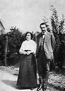 Albert Einstein (1879-1955) German-Swiss mathematician with his first wife Mileva c1905