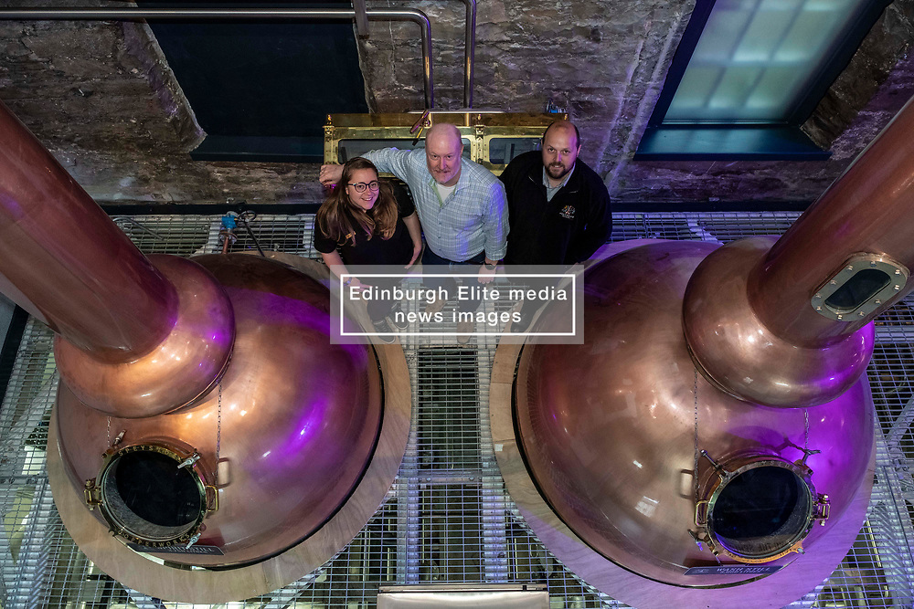 Pictured: Elizabeth Machin and Jack Mayo, (black jacket) distillers were joined by founder Rob Carpenter<br /><br />A new distillery for Edinburgh, The Holyrood Distillery, was available for viewing a day ahead of their official opening to the public on Tuesday 30 July 2019<br /><br /> Ger Harley   EEm 29 July 2019