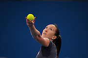 Brisbane, Australia, December 30: Jelena Jankovic of Serbia serves during a training session at Pat Rafter Arena ahead of the 2012 Brisbane International Tennis Tournament in Brisbane, Australia on Friday December 30th, 2011. (Photo: Matt Roberts/Photo News)