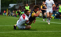 Sam Pointon of Worcester Cavaliers scores a try. - Mandatory by-line: Alex James/JMP - 04/09/2017 - RUGBY - Sixways - Worcester, England - Worcester Cavaliers  v Leicester Tigers - A League