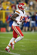 Kansas City Chiefs wide receiver Jeremy Maclin (19) jogs off the field with a football during the 2015 NFL week 3 regular season football game against the Green Bay Packers on Monday, Sept. 28, 2015 in Green Bay, Wis. The Packers won the game 38-28. (©Paul Anthony Spinelli)