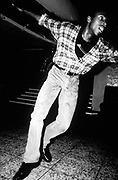 Jazz Dancer wearing chequered shirt and tight jeans, Hippodrome, Nottingham, U.K, 1991.