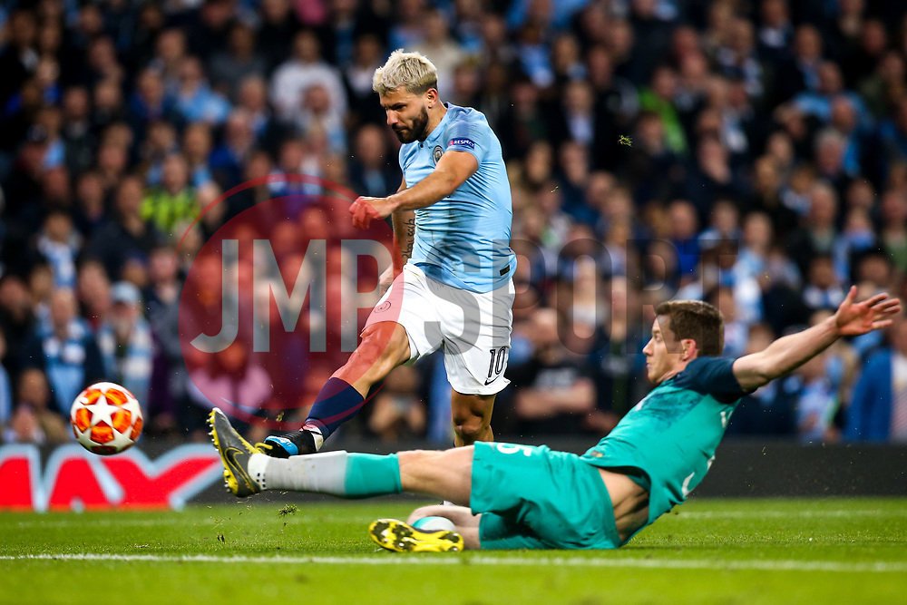 Sergio Aguero of Manchester City scores a goal to make it 4-2 - Mandatory by-line: Robbie Stephenson/JMP - 17/04/2019 - FOOTBALL - Etihad Stadium - Manchester, England - Manchester City v Tottenham Hotspur - UEFA Champions League Quarter Final 2nd Leg