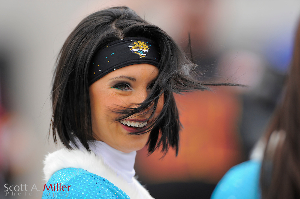 Jacksonville Jaguars cheerleader during the first half of the Jags game against the Washington Redskins at EverBank Field on Dec. 26, 2010 in Jacksonville, Fl. © 2010 Scott A. Miller