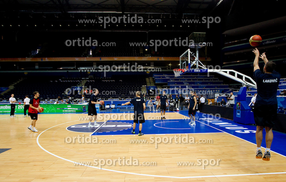 Jaka Lakovic of Slovenia (R) during practice session of Slovenian National basketball team at Eurobasket Lithuania 2011, on September 8, 2011, in Siemens Arena, Vilnius, Lithuania. (Photo by Vid Ponikvar / Sportida)