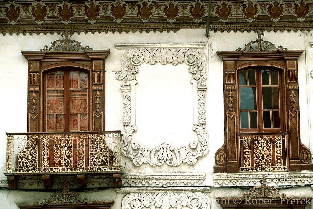 ECUADOR, HIGHLANDS, CUENCA colonial architecture; balconies