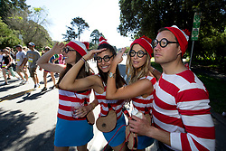 A quartet of runners costumed as children's book character Waldo search for themselves while passing through Golden Gate Park, during the 105th running of the Bay to Breakers 12k, Sunday, May 15, 2016 in San Francisco. The 7.42-mile race from San Francisco Bay to the Pacific Ocean, which attracts a field of tens of thousands of runners, from elite runners to weekend warriors, some clad in costume and some in nothing at all. (Photo by D. Ross Cameron)