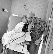 MANCHESTER, CT - 14 APRIL 2008 -111608JT21-.Marie Tyrrell kisses Dr. Richard Fichman after he performed cataract surgery on her on April 14, 2008 at Fichman's office in Manchester. Marie developed cataracts, a side-effect of chemotherapy, roughly two years after being diagnosed with stage four lung cancer. Having a terminal illness, Marie was hesitant about spending money on an expensive surgery that may only benefit for a few months. Fichman donated his services, using the new lens implant Crystalens, for free..Josalee Thrift / Republican-American