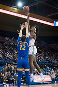 UCLA Bruins forward Jalen Hill (24) shoots over San Jose State Spartans forward Eduardo Lane (12) during an NCAA college basketball game, Sunday, Dec. 1, 2019, in Los Angeles. UCLA defeated San Jose State 93-64. (Jon Endow/Image of Sport)