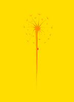 Beautiful dandelion seeds with a little lady bug climbing the stem. Minimalistic abstract oriental Zen style sumi-e painting based design illustration in vivid colors, bright orange and red on yellow background.
