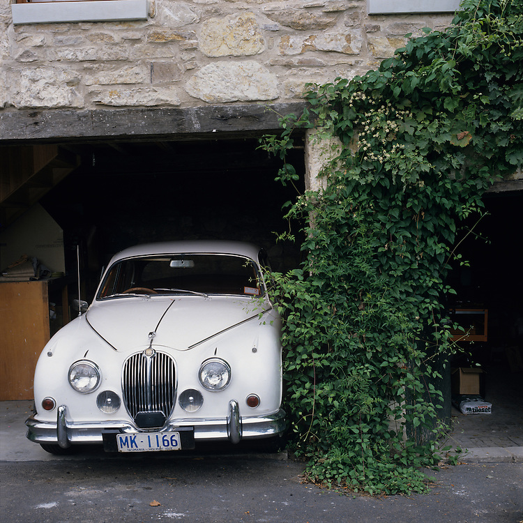 Australia, Tasmania, Hobart, Garaged roadster at the Islington Private Hotel, originally a Georgian Mansion built in 1845