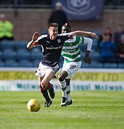 Dundee&rsquo;s Cammy Kerr races away from Celtic&rsquo;s Eboue Kouassi - Dundee v Celtic in the Ladbrokes Scottish Premiership at Dens Park, Dundee.Photo: David Young<br /> <br />  - &copy; David Young - www.davidyoungphoto.co.uk - email: davidyoungphoto@gmail.com