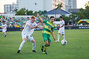 Swope Park Rangers defender Camden Riley(44) pressures Tampa Bay Rowdies midfielder Andrew Tinar(15) during a USL soccer game, Sunday, May 26, 2019, in St. Petersburg, Fla. The Rowdies defeated the Rangers 1-0. (Brian Villanueva/Image of Sport)