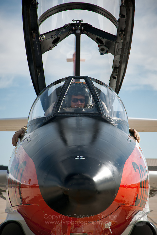 T-2 Buckeye pilot, Peter Kline, prepares to taxi after startup during the 2011 USN Tailhook Legacy Flight training at NAS Lemoore.