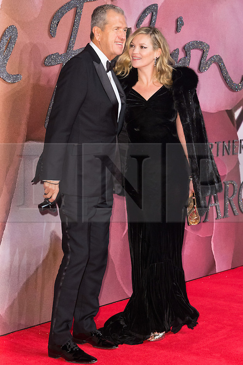 © Licensed to London News Pictures. 05/12/2016. MARIO TESTINO and KATE MOSS arrive for The Fashion Awards 2016 celebrating the best of British and international fashion. London, UK. Photo credit: Ray Tang/LNP