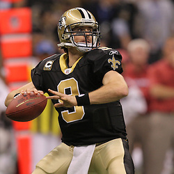16 January 2010:  New Orleans Saints quarterback Drew Brees (9) looks to throw during a 45-14 win by the New Orleans Saints over the Arizona Cardinals in a 2010 NFC Divisional Playoff game at the Louisiana Superdome in New Orleans, Louisiana.