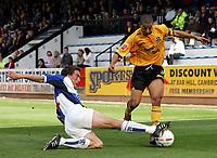 Fotball<br /> Foto: SBI/Digitalsport<br /> NORWAY ONLY<br /> <br /> Cambridge United v Bristol Rovers<br /> Coca-Cola Championship football league two<br /> Abbey Stadium 09/10/2004<br /> <br /> <br /> Bristols Craig Hinton tackle Cambridge's Abdou El Kholti