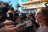 Roma, 03/11/2014: Caso Cucchi, all'uscita dall'incontro con il procuratore in tribunale Ilaria Cucchi circondata dai giornalisti.<br /> Murder Cucchi, the family met the prosecutor, Ilaria Cucchi surrounded by journalists.