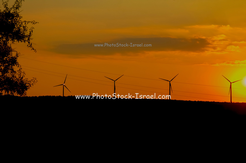 Wind turbine, between Buccheri and Palazzolo on the Iblei mountains, province of Siracusa, Sicily, Italy, at sun