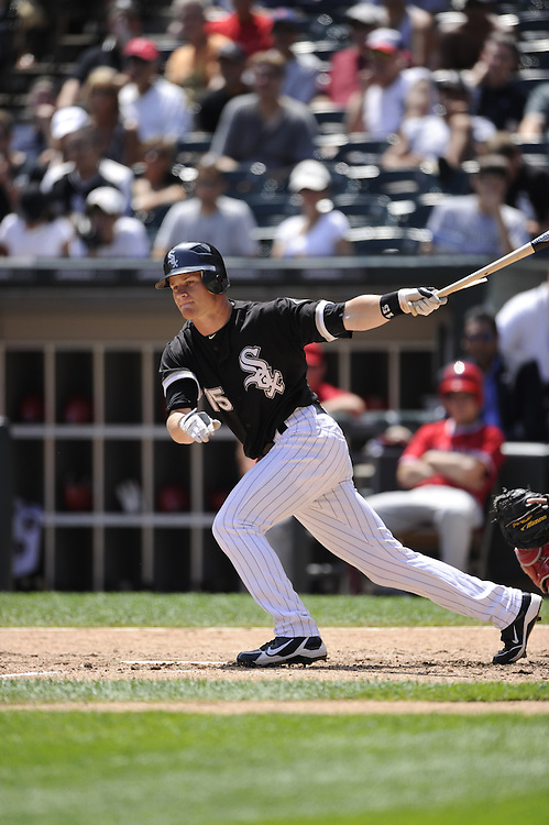 CHICAGO - JULY 08:  Gordon Beckham #15 of the Chicago White Sox bats against the Los Angeles Angels of Anaheim on July 8, 2010 at U.S. Cellular Field in Chicago, Illinois.  The White Sox defeated the Angels 1-0.  (Photo by Ron Vesely)