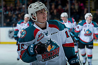 KELOWNA, CANADA - FEBRUARY 12:  Kole Lind #16 of the Kelowna Rockets skates to the bench to celebrate a goal against the Victoria Royals on February 12, 2018 at Prospera Place in Kelowna, British Columbia, Canada.  (Photo by Marissa Baecker/Shoot the Breeze)  *** Local Caption ***