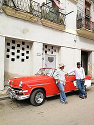 Old Havana, Cuba. Havana vieja, street. Vintage car.