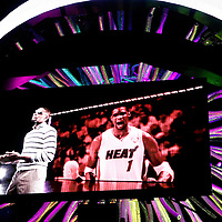 17 January 2012: Miami Heat power forward Chris Bosh (1) is seen on the arena screen during the players introduction prior to the Miami Heat 120-98 victory over the San Antonio Spurs at the AmericanAirlines Arena, Miami, Florida, USA.