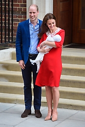The Duke and Duchess of of Cambridge pictured outside the Lindo Wing at St Mary's Hospital in Paddington, London, after the birth of their second son. Photo credit should read: Matt Crossick/EMPICS Entertainment