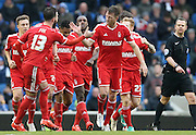 Nottingham Forest's Danny Collins celebrates his goal during the Sky Bet Championship match between Brighton and Hove Albion and Nottingham Forest at the American Express Community Stadium, Brighton and Hove, England on 7 February 2015. Photo by Phil Duncan.
