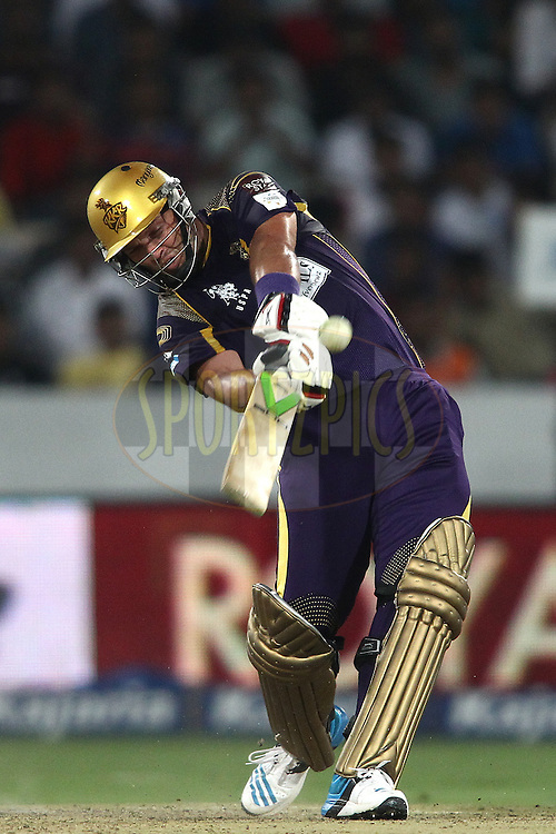 Jacques Kallis of the Kolkata Knight Riders hits over the top for six during the first semi final match of the Oppo Champions League Twenty20 between the Kolkata Knight Riders and the Hobart Hurricanes held at the Rajiv Gandhi Cricket Stadium, Hyderabad, India on the 2nd October 2014<br /> <br /> Photo by:  Shaun Roy / Sportzpics/ CLT20<br /> <br /> <br /> Image use is subject to the terms and conditions as laid out by the BCCI/ CLT20.  The terms and conditions can be downloaded here:<br /> <br /> http://sportzpics.photoshelter.com/gallery/CLT20-Image-Terms-and-Conditions-2014/G0000IfNJn535VPU/C0000QhhKadWcjYs