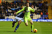 Birmingham City midfielder David Davis and Huddersfield Town defender Ben Chilwell challenge during the Sky Bet Championship match between Birmingham City and Huddersfield Town at St Andrews, Birmingham, England on 5 December 2015. Photo by Alan Franklin.