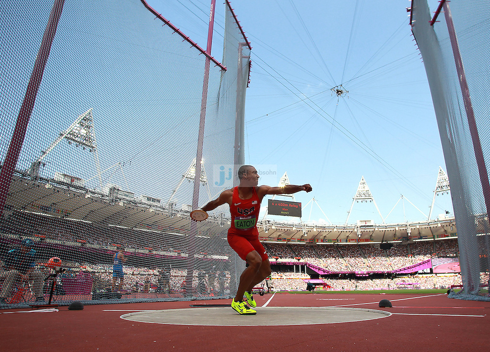 Ashton Eaton of the USA competes in the discus portion of the decathlon during track and field at the Olympic Stadium during day 13 of the London Olympic Games in London, England, United Kingdom on August 9, 2012..(Jed Jacobsohn/for The New York Times)..