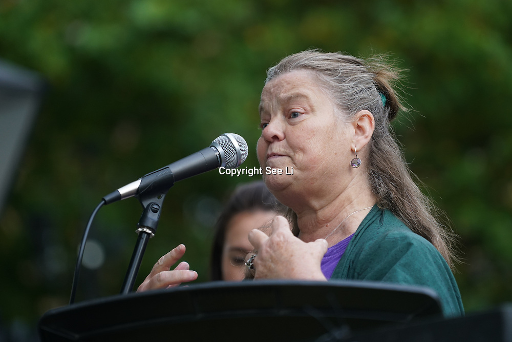 London, England, UK. 28th September 2017. Speaker Rebecca Johnson of Green Party protest and rally to demand Theresa May to Stop Trump and Kim Jong-Un Nuclear threat call for a peaceful solution.