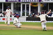 Wicket - James Hildreth of Somerset catches Nick Browne of Essex off the bowling of Dom Bess of Somerset during the Specsavers County Champ Div 1 match between Somerset County Cricket Club and Essex County Cricket Club at the Cooper Associates County Ground, Taunton, United Kingdom on 26 September 2019.