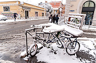 ROME, ITALY - FEBRUARY 26: The snow-covered streets in the San Lorenzo district, after the snowfall in the night connected to the arrival of Burian that have whitewashed the capital on February 26, 2018 in Rome, Italy.