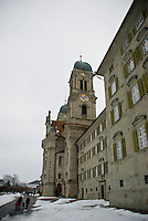 A view of the imposing Eisiedeln Cathedral, Switzerland, home of the Black Madonna.