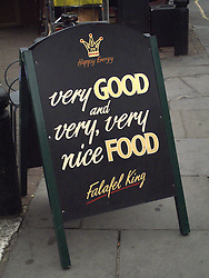 UK ENGLAND LONDON 20JUL13 - Very good and very very nice food sign at Portobello Market, west London.<br /> <br /> <br /> <br /> jre/Photo by Jiri Rezac<br /> <br /> <br /> <br /> © Jiri Rezac 2013