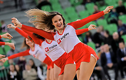 Cheerleaders Green Ladies perform during basketball match between KK Cedevita Olimpija and KK Zadar in Round #19 of ABA League 2019/20, on February 8, 2020 in Arena Stozice, Ljubljana, Slovenia. Photo by Vid Ponikvar / Sportida