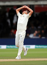 England's Sam Curran reacts during day four of the Specsavers Second Test match at Lord's, London.