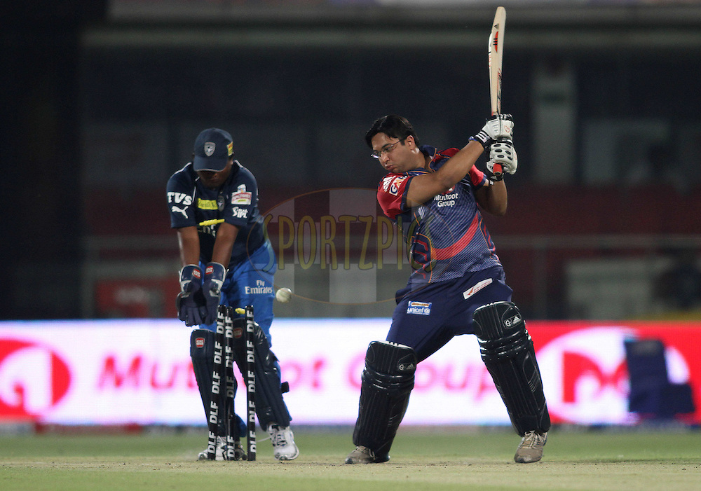 Ajit of the Delhi Daredevils is bowled during The Team Owner's Match between The Delhi Daredevils and the Deccan Chargers held after match 23 of the the Indian Premier League (IPL) 2012  between The Delhi Daredevils and the Deccan Chargers held at the Feroz Shah Kotla, Delhi on the 19th April 2012..Photo by Shaun Roy/IPL/SPORTZPICS.
